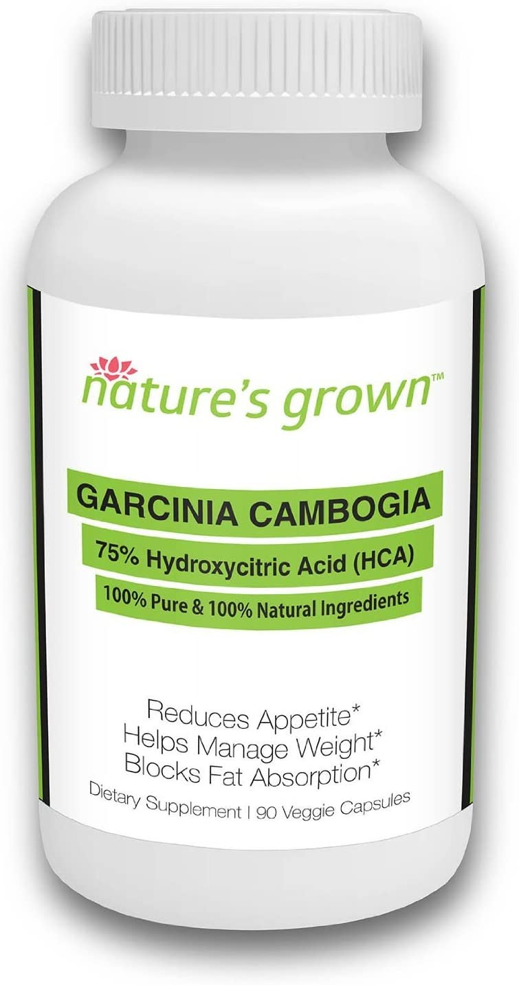 Nature's Grown Garcinia Cambogia 75% HCA Pure Extract Weight Loss Supplement and Appetite Suppressant, 90 Veggie Capsules, Clinically Proven, Made in The USA