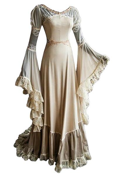 tianxinxishop Vestido de Princesa Retro Medieval Vestido de Encaje Largo de Mujer Vintage