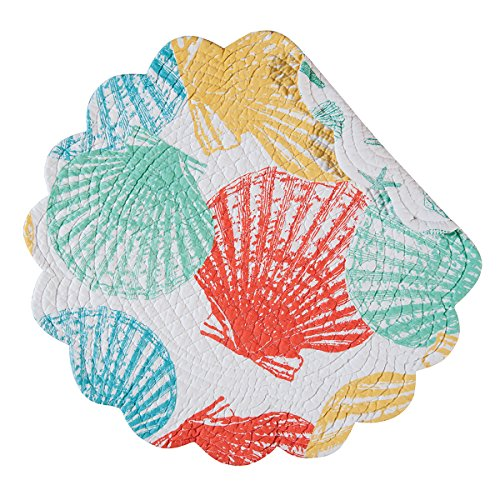 (Captiva Island Shells Teal Yellow Green Round Quilted Scallop Placemats Set of 4)