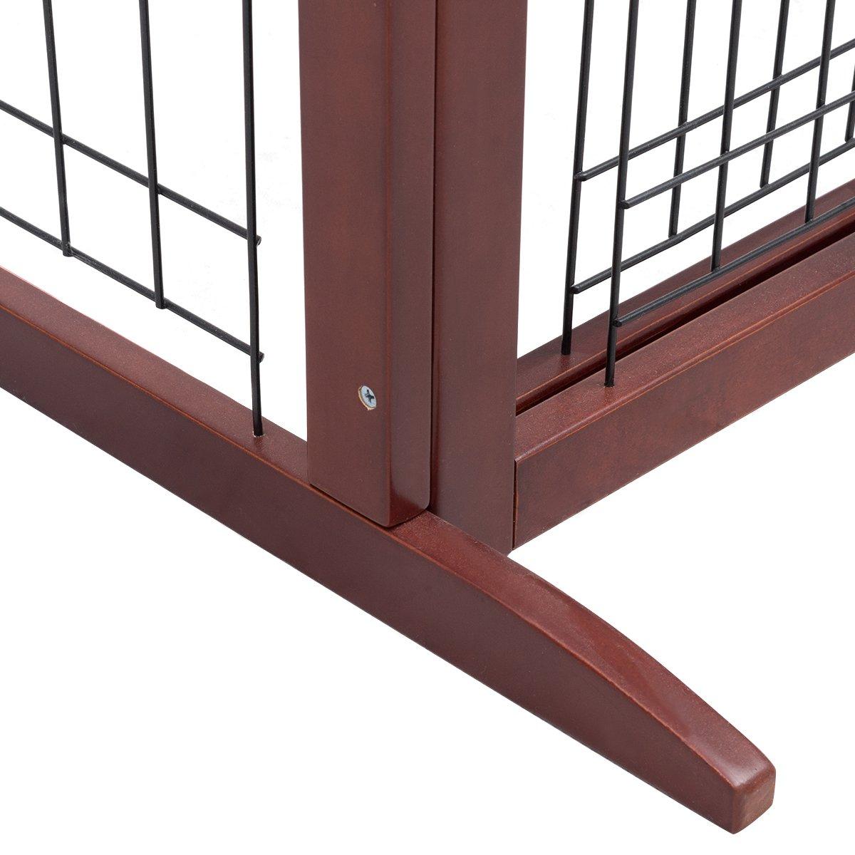 COSTWAY Barrera de Seguridad Extensible de Madera para Puerta Escalera Valla Protecci/ón para Beb/é Perro Mascotas