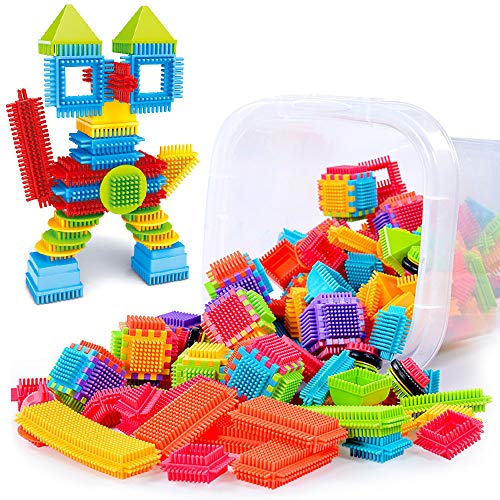 100Pcs Bristle Shape 3D Building Blocks Tiles Toys Developmental Intelligence Toy for Kids Puzzle Educational Learning Toy Growing Experiment Gift Toy Pretend Toy Toddlers Toy (Multicolor) from Ghazzi