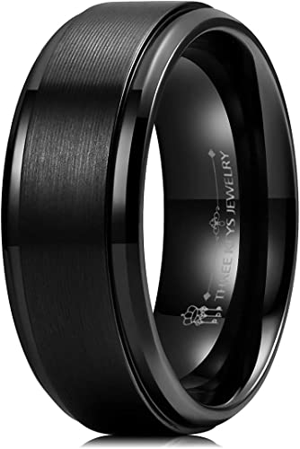 NEW 8mm Black Titanium Mens or Womens Wedding Band Pinky Ring Sizes J to Z+3