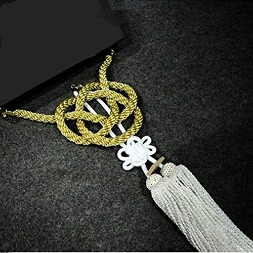 New Car Rearview Mirror Charms Vip Gift Golden Kin Rope White Chinese Knot