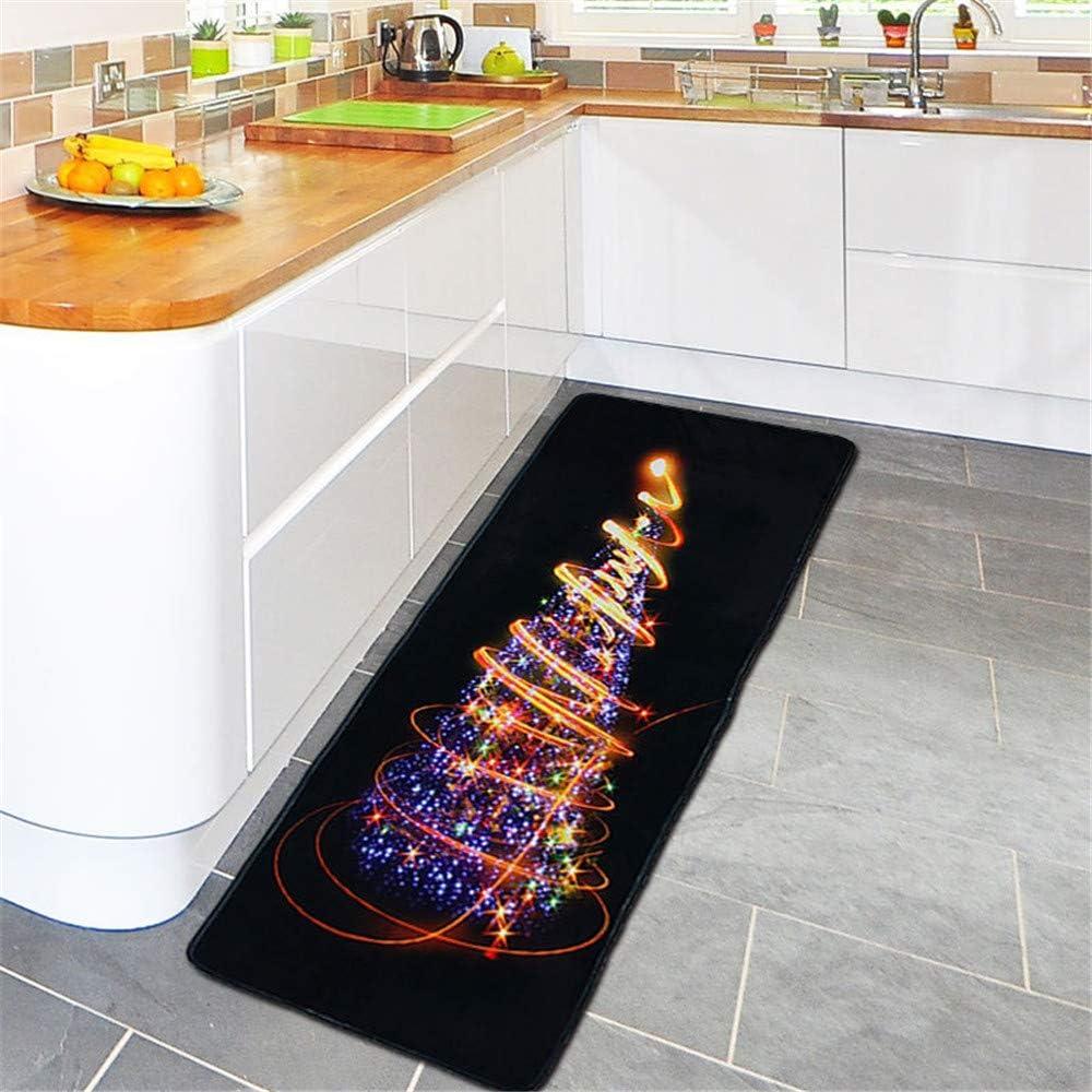 Weihnachten Langer Teppich Rutschfest Christmas Fu/ßmatte Hukz Weicher T/ürmatte Saugf/ähig Badematte Badteppich Badvorleger f/ür Wohnzimmer Schlafzimmer K/üche Badezimmer Weihnachtsdeko 60x180cm