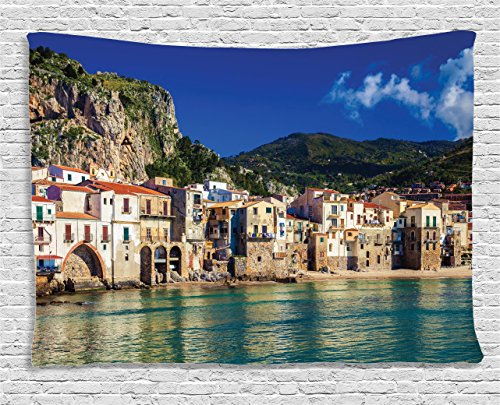 - Ambesonne Wanderlust Decor Collection, Cozy Old Houses in The Port of Cefalu, Sicily Mediterranean Seaside Mountain Seascape, Bedroom Living Room Dorm Wall Hanging Tapestry, 80W X 60L inch