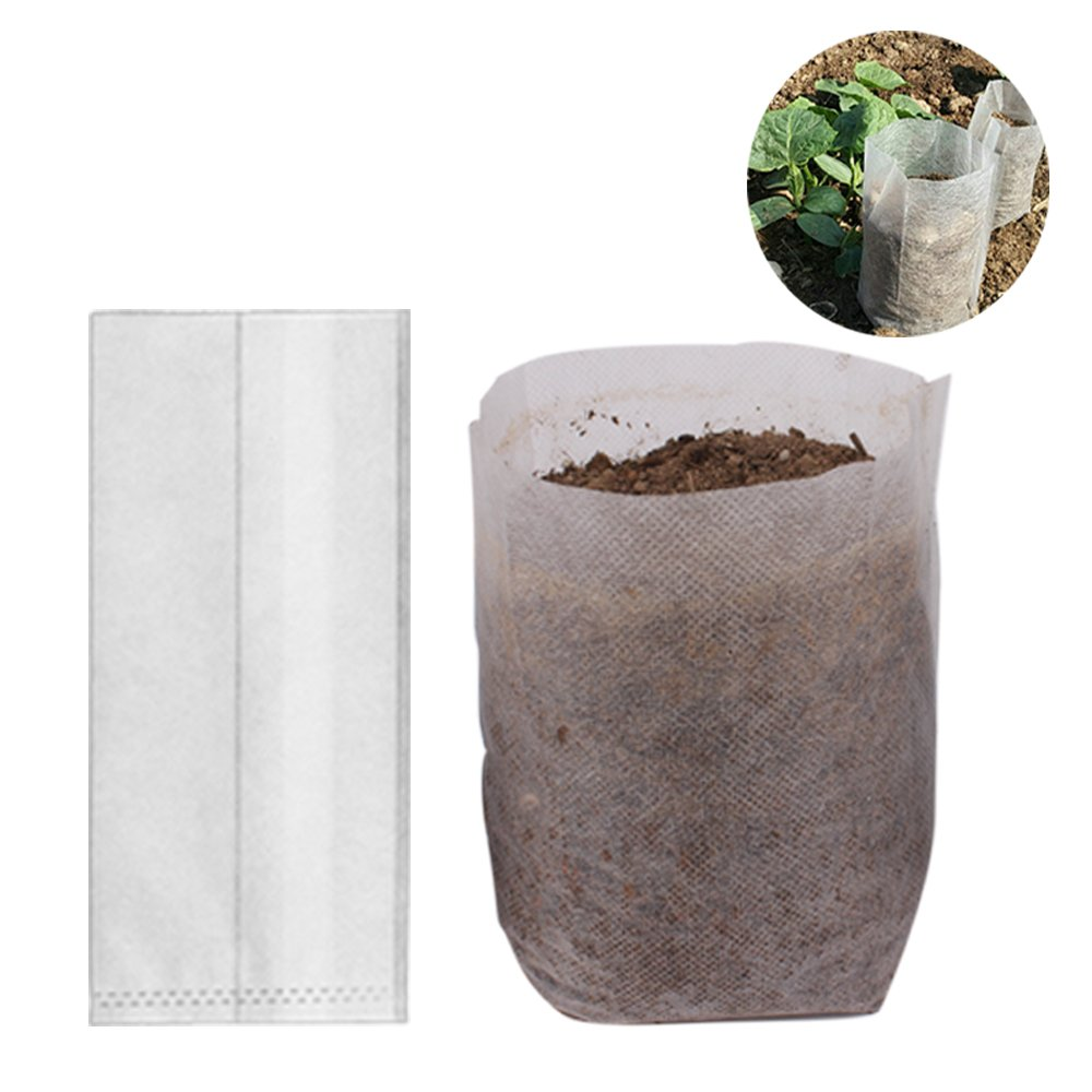 Benail 200Pcs Degradable Non-woven Plant Nursery Bags Plant Seedling Bags (Size:4.72 x 5.90inch)