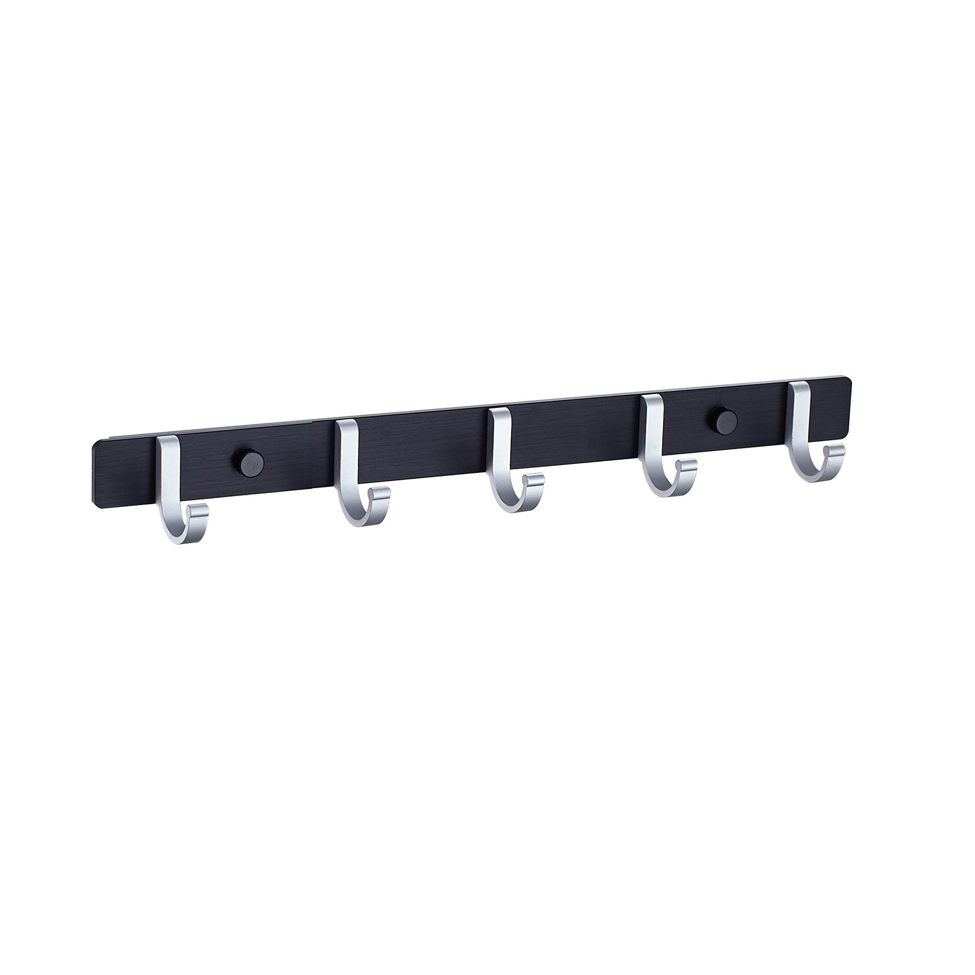 HOMESHOW Bathroom Towel Rail/Rack With5 Hooks Wall Mount Aluminum Alloy, Black and Silver G08 0091