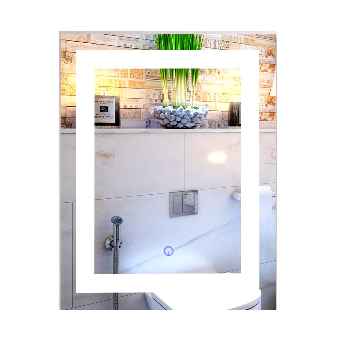 "CO-Z Modern LED Bathroom Mirror, Dimmable Rectangle Lighted Wall Mirror with Lights and Dimmer, Wall Mounted Contemporary Light Up Makeup Vanity Cosmetic Bathroom Mirror Over Sink (24"" x 30"")"