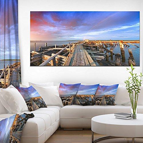 Designart PT10343-60-28 Abandoned Wooden Pier Sky-Sea Bridge Canvas Wall Artwork-60x28 1 Piece, 28'' x 60'' x 2'' Blue from Design Art