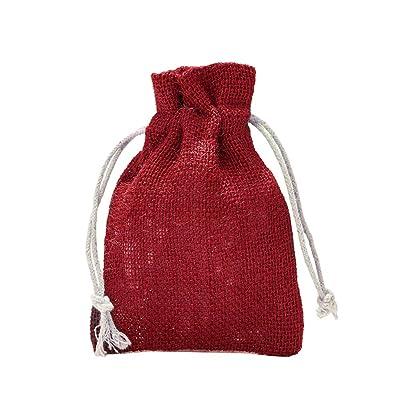 10 bolsas de yute con cordón de algodón. Tamaño: 30x20 cm, 100% yute, decoración invernal, envoltorio de regalos de navidad (rojo): Juguetes y juegos