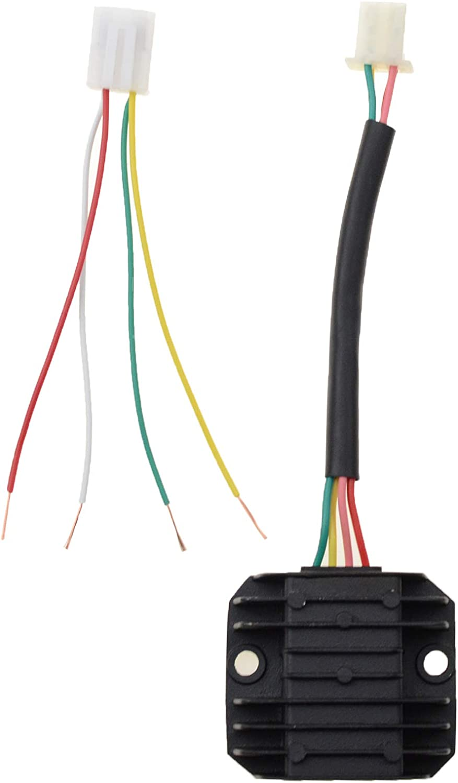 4 Wires 12V 4-pin Voltage Regulator Rectifier for 50cc 70cc 90cc 110cc 125cc ATV Scooters Go Karts Quad 4 Wheelers Moped Dune Buggy Sandrail Roketa Taotao Rectifier Black