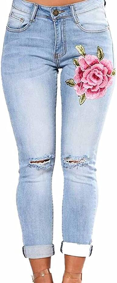 Vaqueros Slim Fit Mujer Talle Alto Flaco Pantalones Largos Lapiz Pantalones Elasticos Stretch Jeans Pantalones Vaqueros Strir S Amazon Es Ropa Y Accesorios