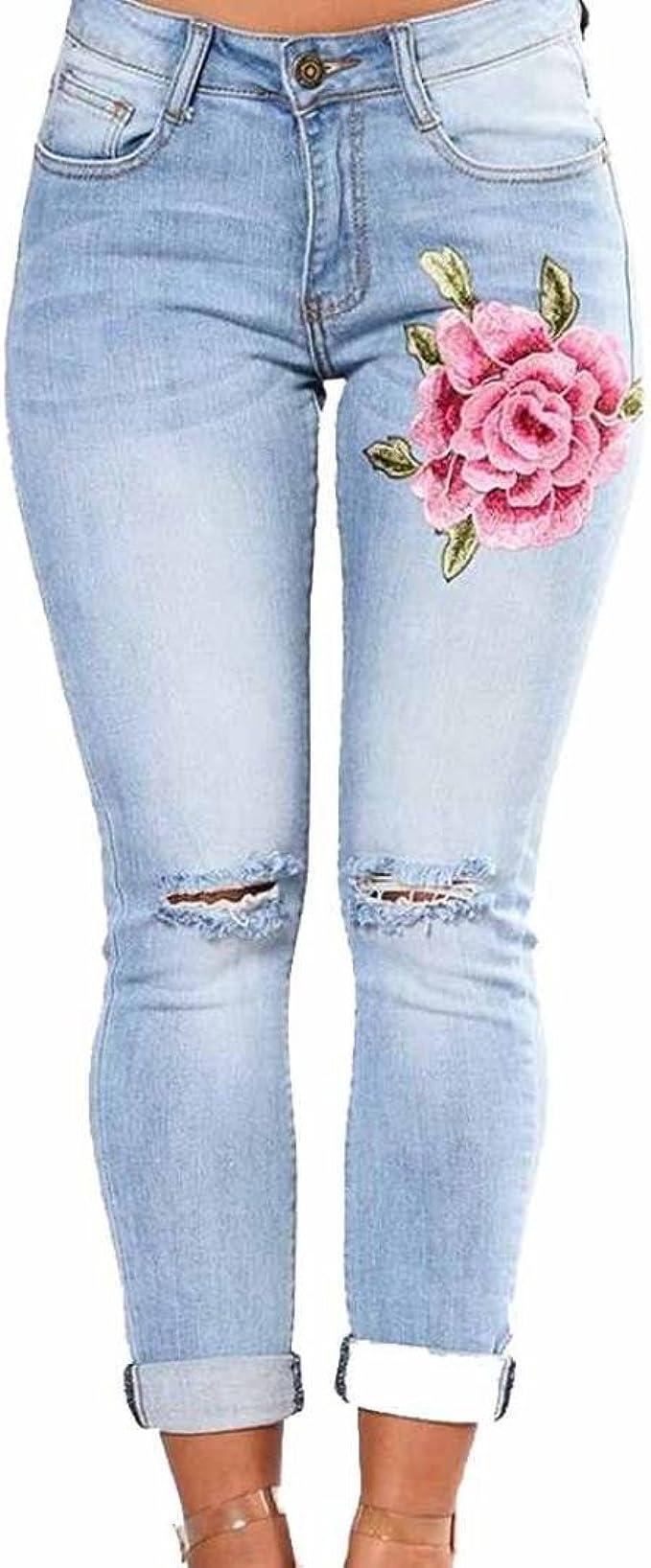 Vaqueros Slim fit Mujer Talle Alto Flaco Pantalones Largos lápiz ...