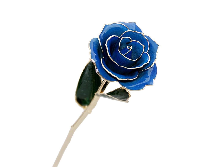 Luxuriös 24 Karat Goldene Rose Vergoldet Echte Blumen Valentinstag Geschenk Hochzeitsgeschenk (Blau)