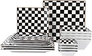 Porlien Checker Pattern 16-Piece Square Dinnerware Set for 4 with Side Dishes