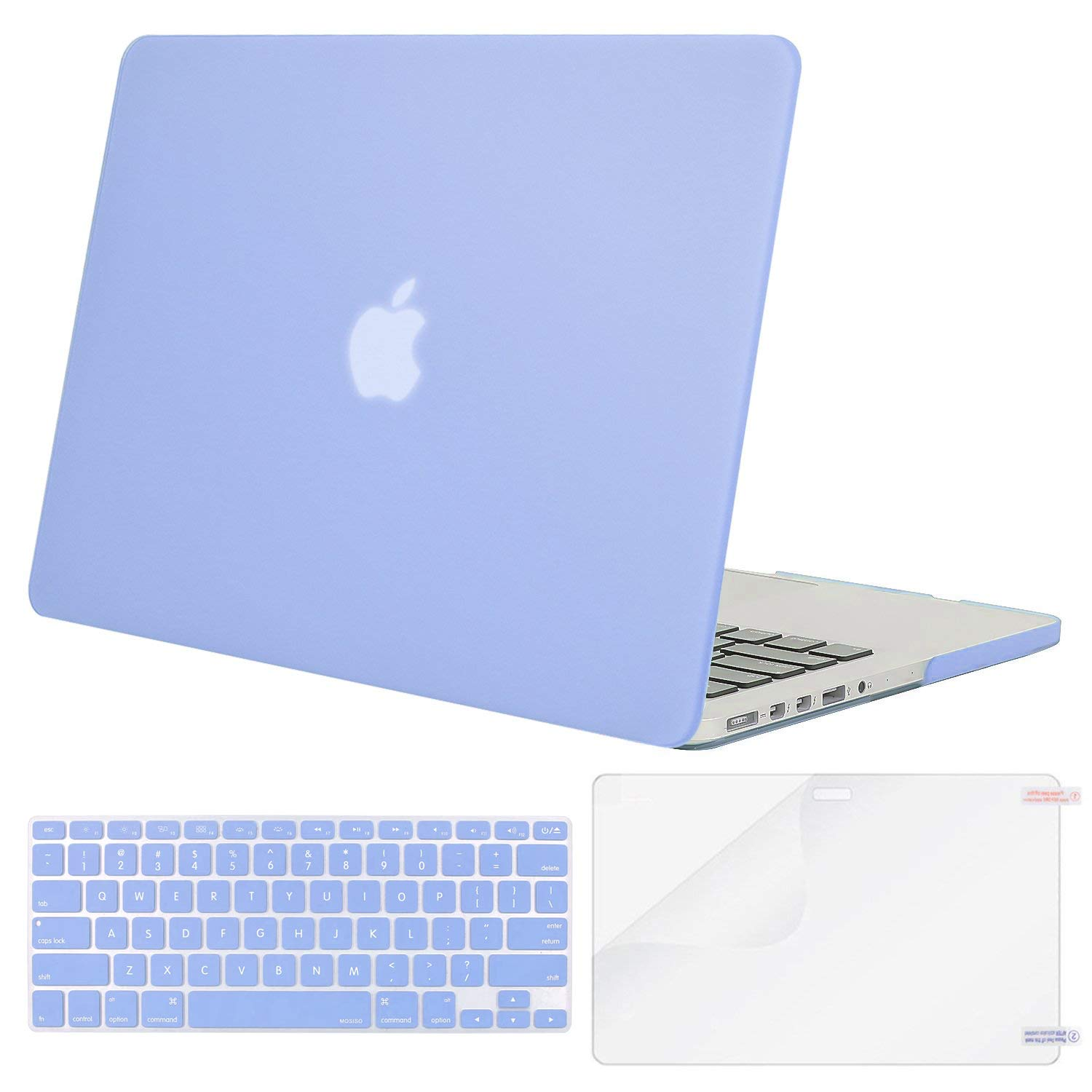 MOSISO Case Only Compatible with Older Version MacBook Pro 15 inch Model A1398 with Retina Display (2015 - end 2012 Release), Plastic Hard Shell & Keyboard Cover & Screen Protector, Serenity Blue by MOSISO