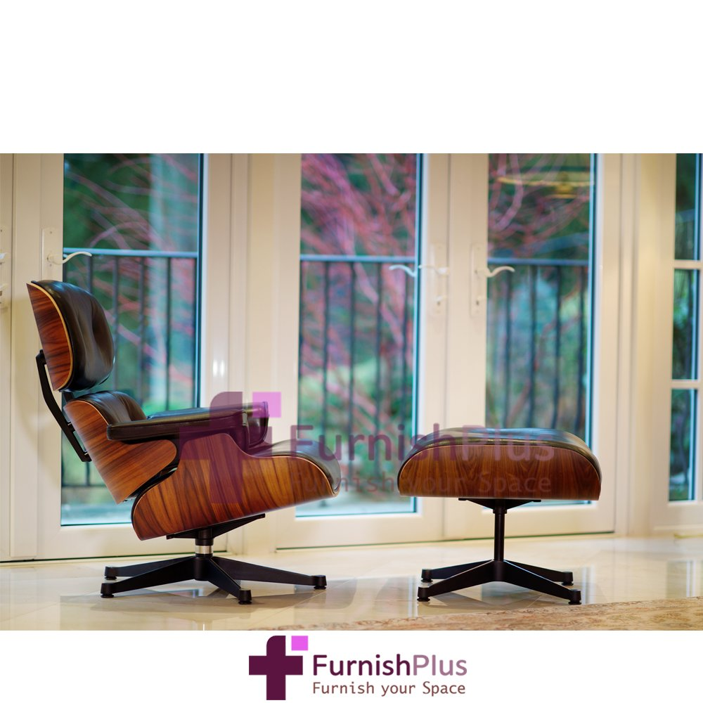 Eames lounge chair in room - Eames Lounge Chair And Ottoman 100 Italian Genuine Black Leather Rosewood Veneer 5 Year Warranty Free Shipping Amazon Ca Home Kitchen