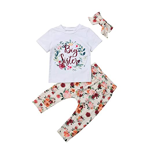 df569574bd550 HESHENG Baby Kids Girl Floral Clothes Little Big Sister Romper T-Shirt  Top+Deer Print Pant with Headband Outfits
