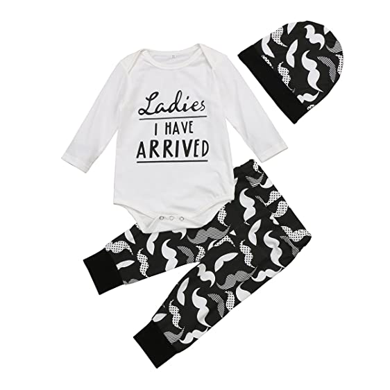 aliven 3pcsset newborn baby girl boy striped long sleeve tops pant hat outfits clothes