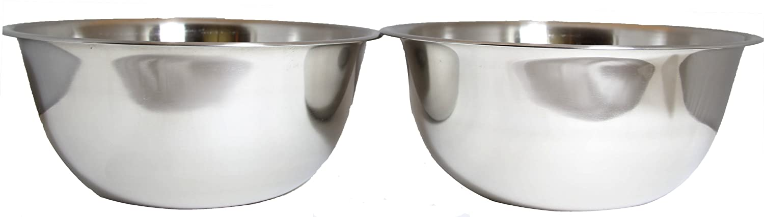 SET OF 2 Large 13-Quart Heavy-Duty Deep Stainless Steel Flat Base Mixing Bowl Bowls Winco