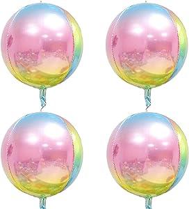 ODDEL 4D Rainbow Balloons Decorations, 4 Pcs Hangable Round Sphere Foil Mylar Balloon, 15 Inch Large Aluminum Film Balloon, Mirror Metallic Balloon Garland for Baby Shower Birthday Wedding Party Décor