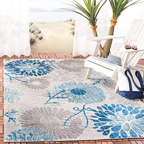 Safavieh CBN832F-8 Cabana Collection CBN832F Grey and Navy Premium Polyester (8' x 10') Area Rug,