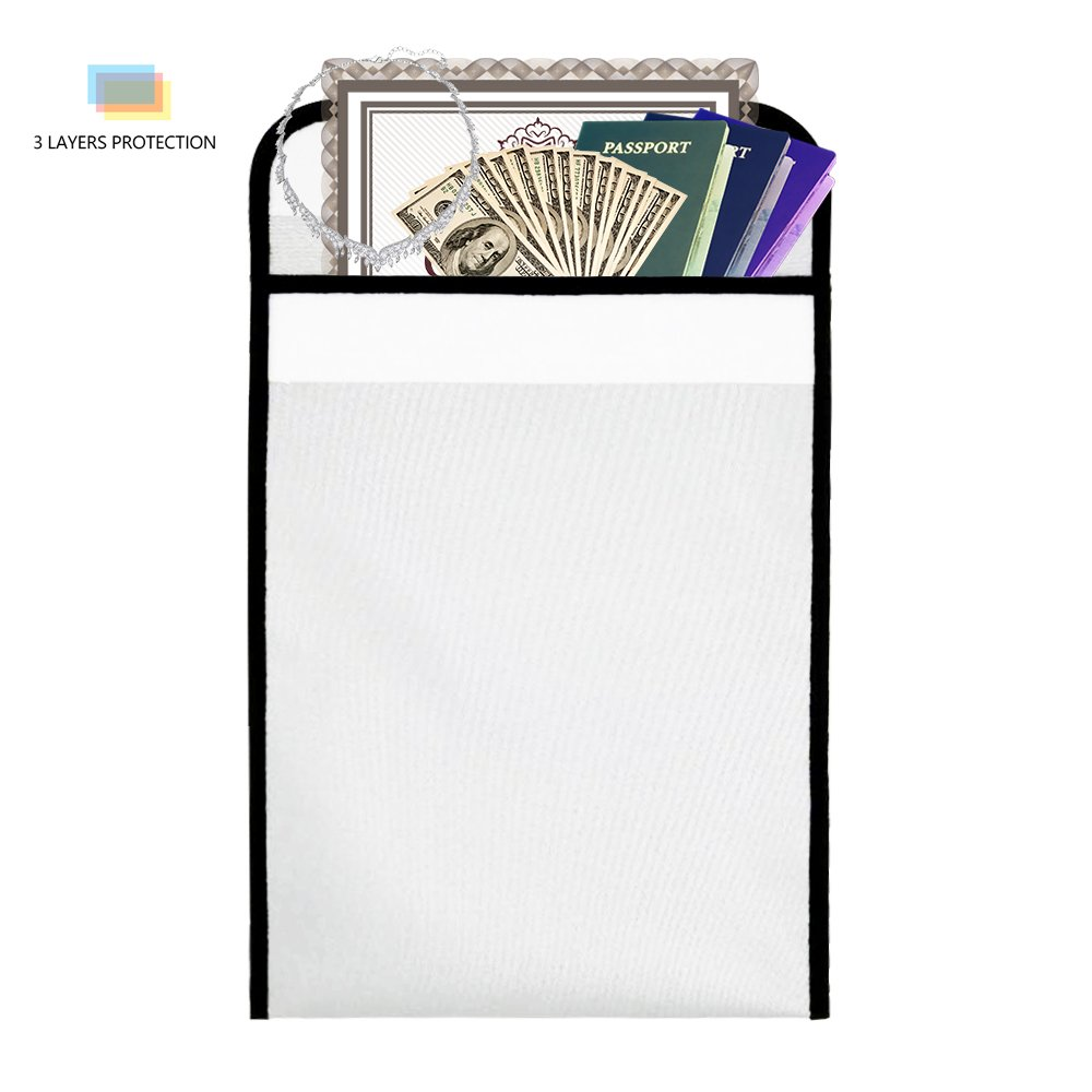 Oak-Pine Fireproof Document Bag 15'' x 11'' Safe File Bag Fire Non-Itchy Silicone Coated Resistant Money Bag Fireproof Safe Storage for Money, Documents, Jewelry and Passport
