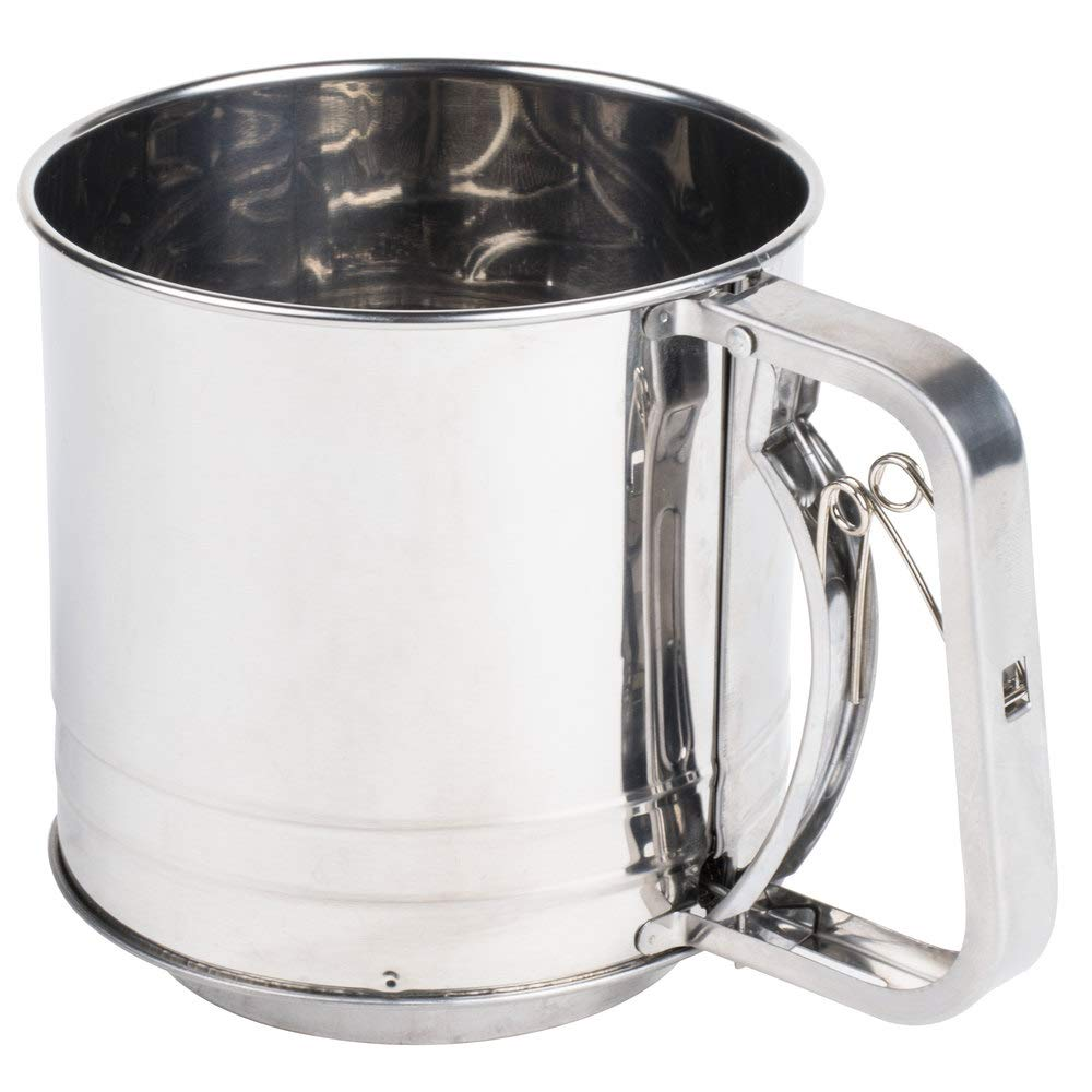 TableTop King 4 Cup Stainless Steel Trigger Action Flour Sifter