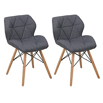 COSTWAY Polsterstuhlset 2 X Wohnzimmerstühle Esszimmerstühle Küchenstühle  Arbeitsstühle Designerstühle Stühle Farbwahl (Dunkelgrau)