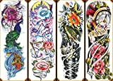 070FC 4-Sheet Large Temporary Tattoo Waterproof Full Arm Tattoo Sticker Big Peacock Lotus Rose Body Art for Women Men Fake Tattoos Sleeve
