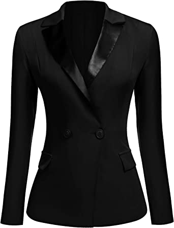 Womens lapel collar one button mid long blazer coat slim solid jacket Business