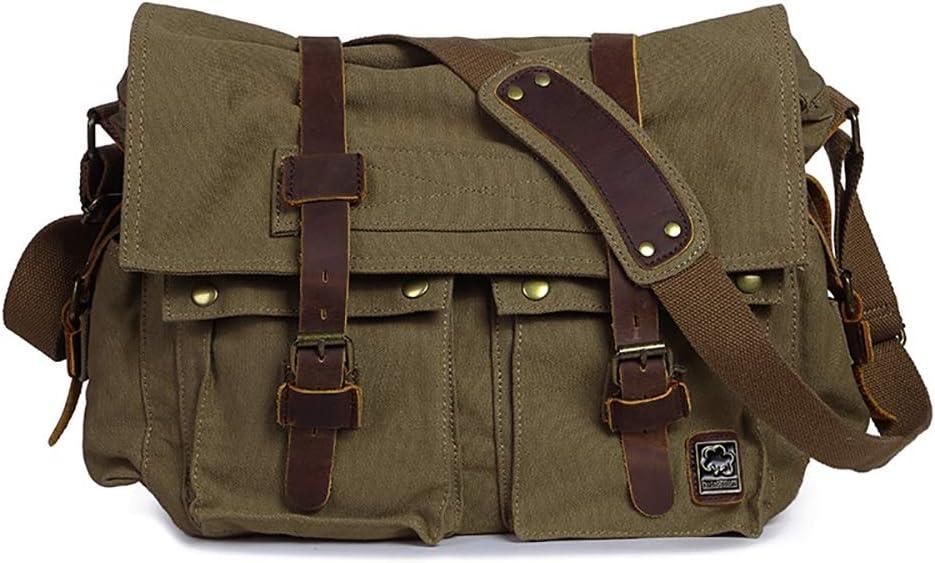 Color : Military Green Mens Laptop Messenger Bag Mens Shoulder Crossbody Canvas Bag SLR Photography Digital Camera Bag SLR Camera Bag for Work and School