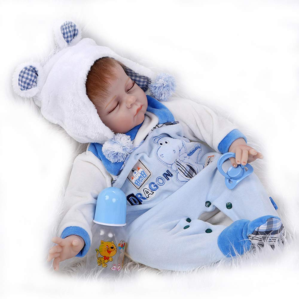 Tianara Realistic Real Like Reborn Baby Doll Silicone Vinyl Gifts 22 Inches Newborn Baby with Blue Jumpsuit
