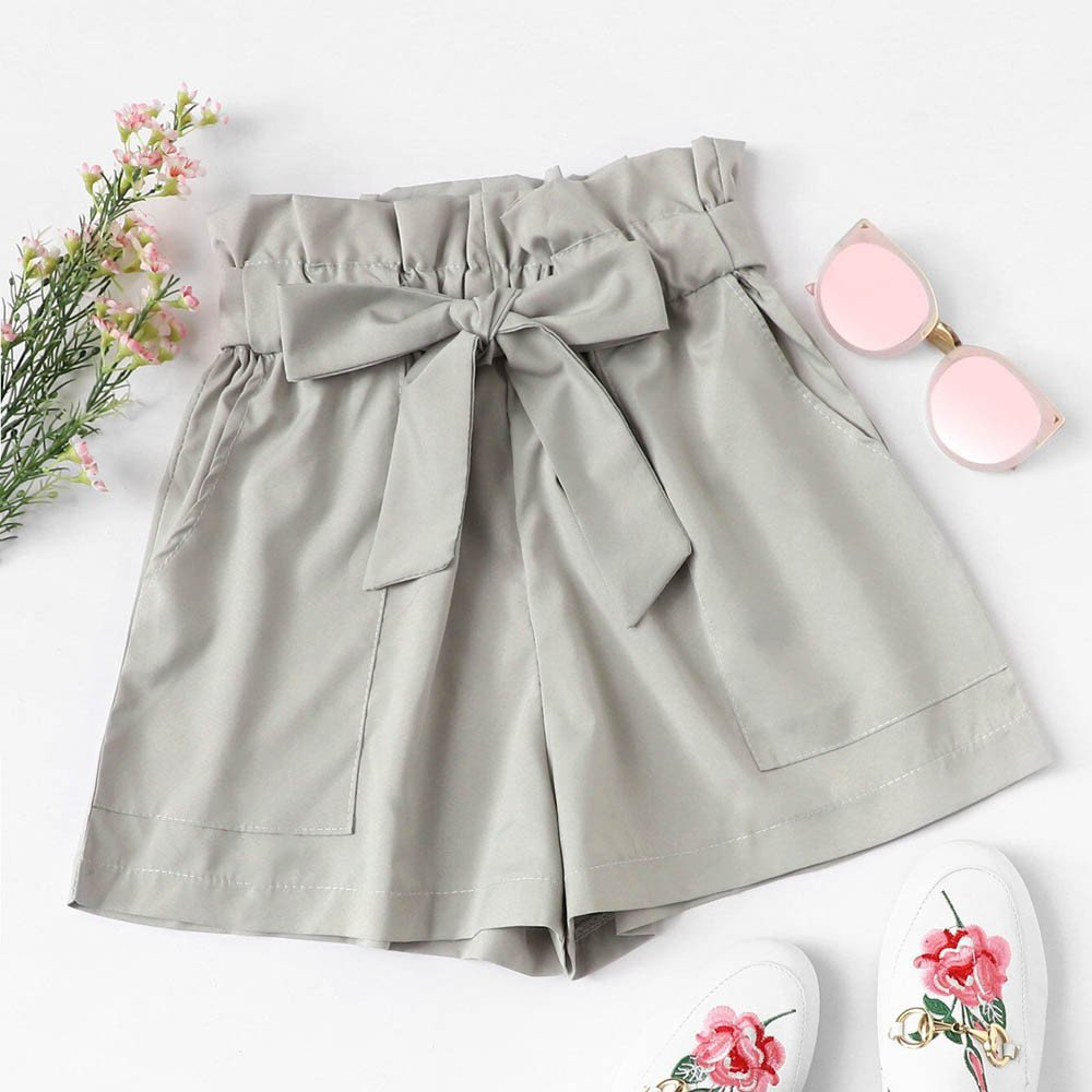 Women Shorts Floral Print Casual Belt Loose Hot Pants Ladies Summer Beach Trousers Lounge Loose for Beach