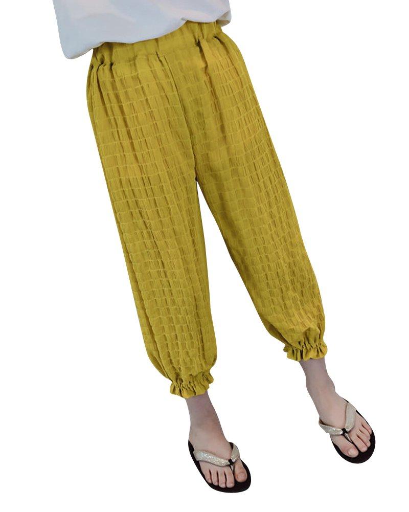 Pantalones De Linterna Para Niñas Suave Cómodo Pantalones Anchos Con Cintura Elástica