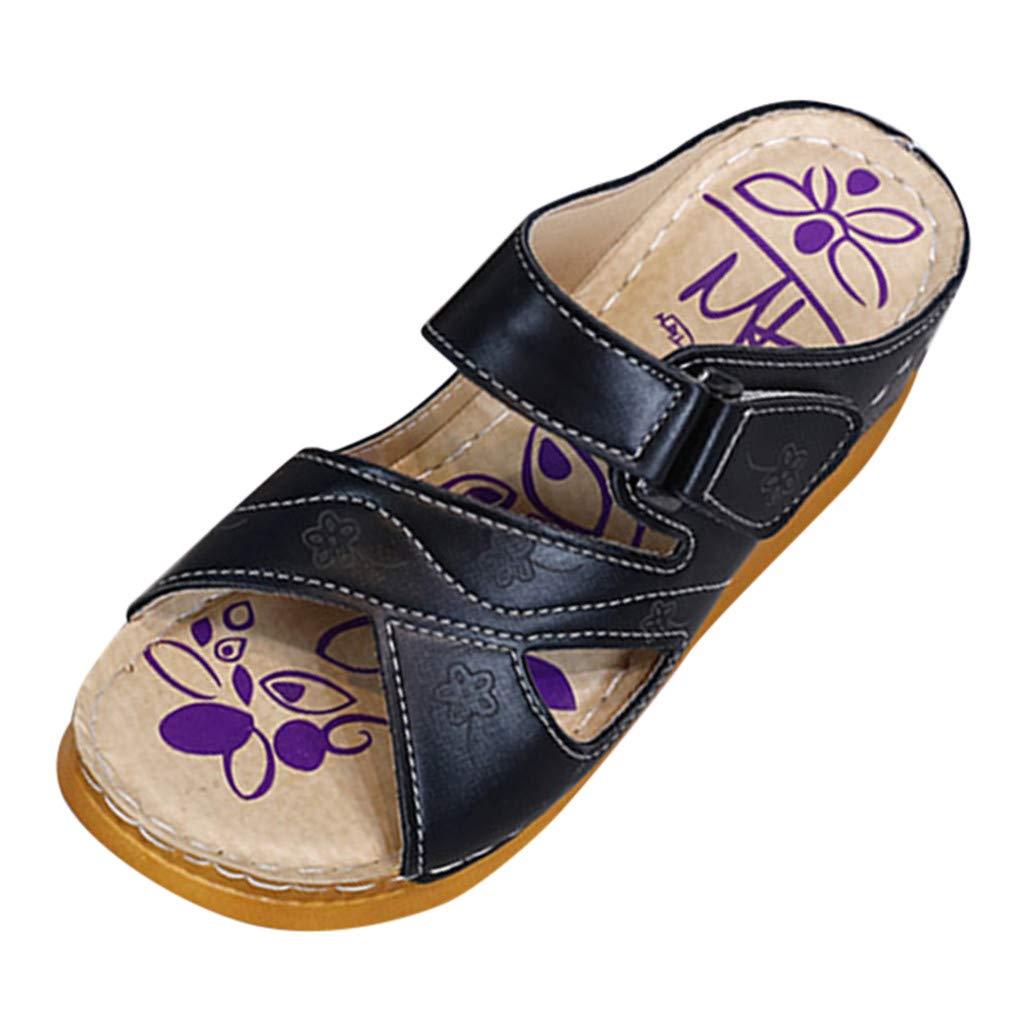 Respctful✿Casual Wedge Sandal Slide for Women Casual Thick Bottom Slip on Flats for Women Slip Resistant Black