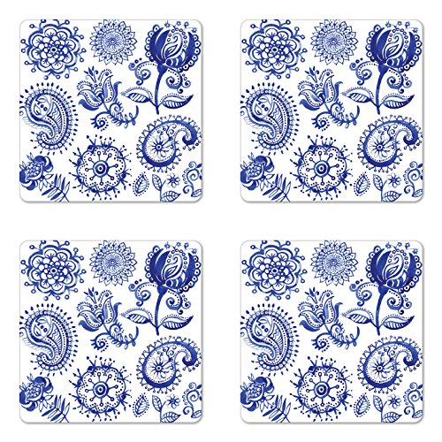 (Ambesonne Blue and White Coaster Set of 4, Old Fashioned Motifs in Watercolor Style Paisley Mandala Floral, Square Hardboard Gloss Coasters for Drinks, Standard Size, Navy Blue)