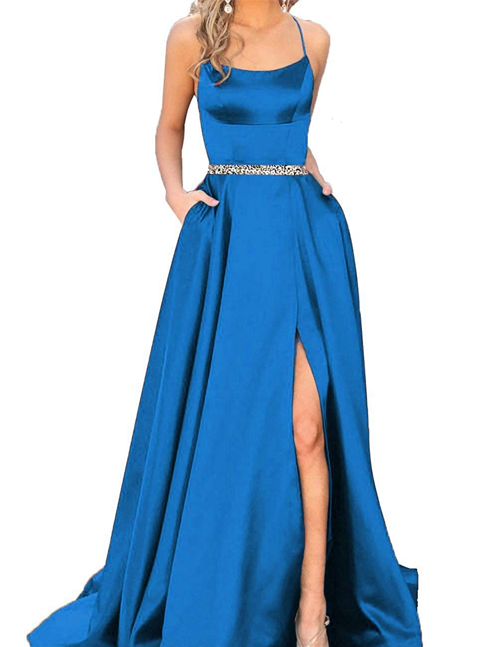 bluee With Beaded Fanciest Women's Halter Slit Satin Prom Dresses Long Backless Evening Formal Gowns