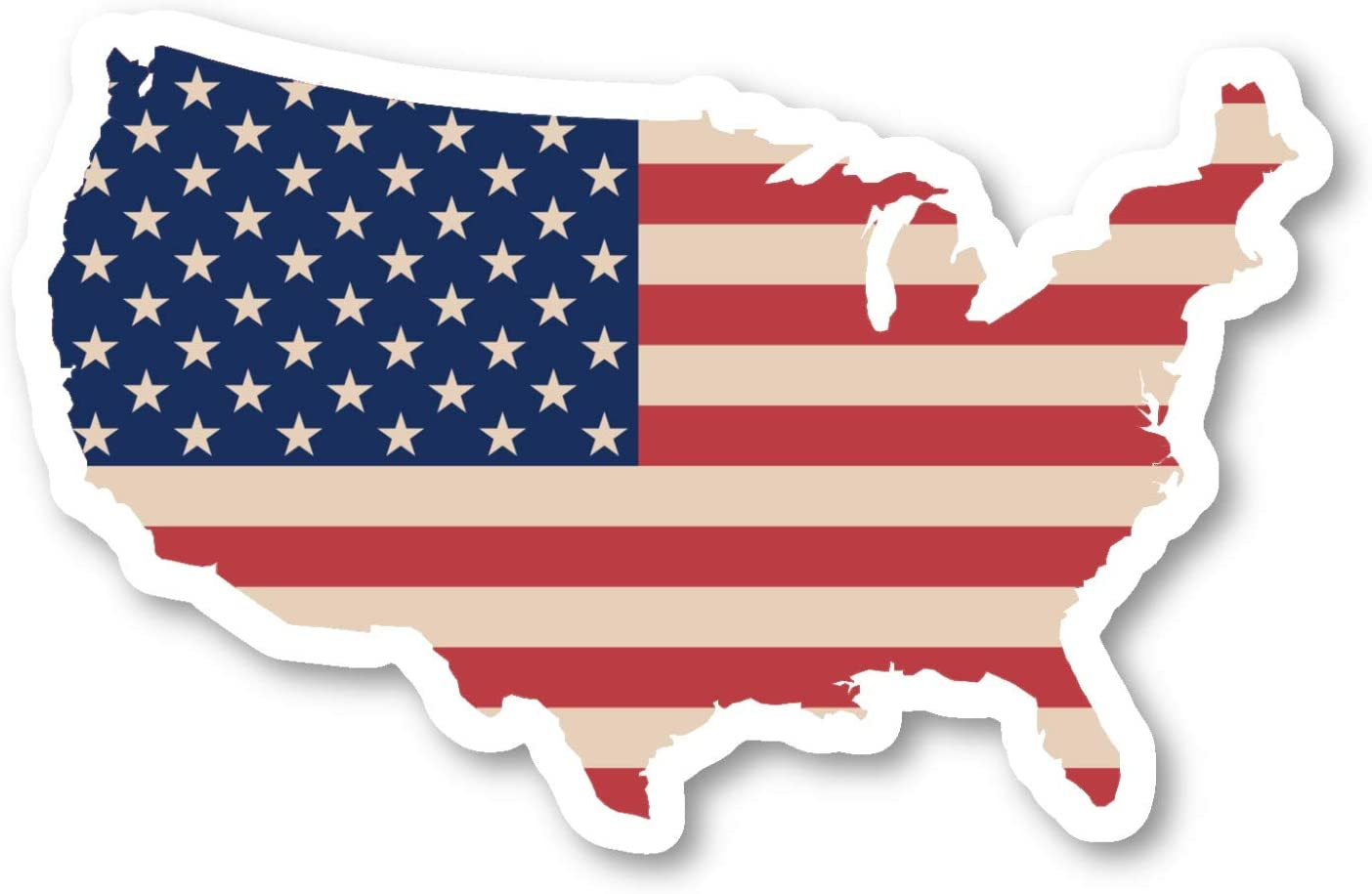 "USA United States Map Flag Sticker Flags Stickers - Laptop Stickers - 4"" Vinyl Decal - Laptop, Phone, Tablet Vinyl Decal Sticker S140781"