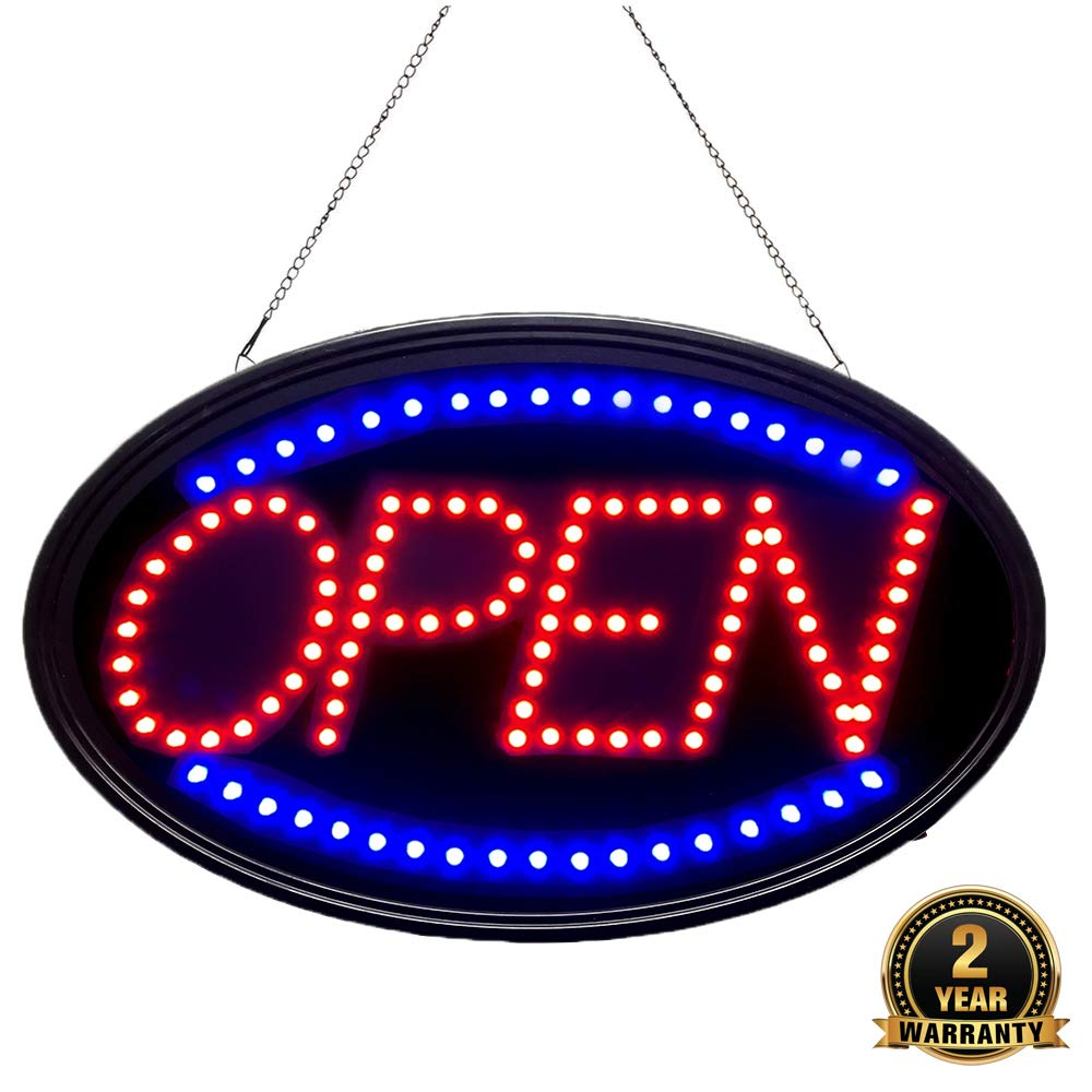 Bright LED Open Sign. WAENLIR 23x14inch Business Advertisement Board High Visibility Electric Display Sign,Two Modes Flashing&Steady Light for Business,Walls,Window,Shop,Bar,Hotel by WANNHE