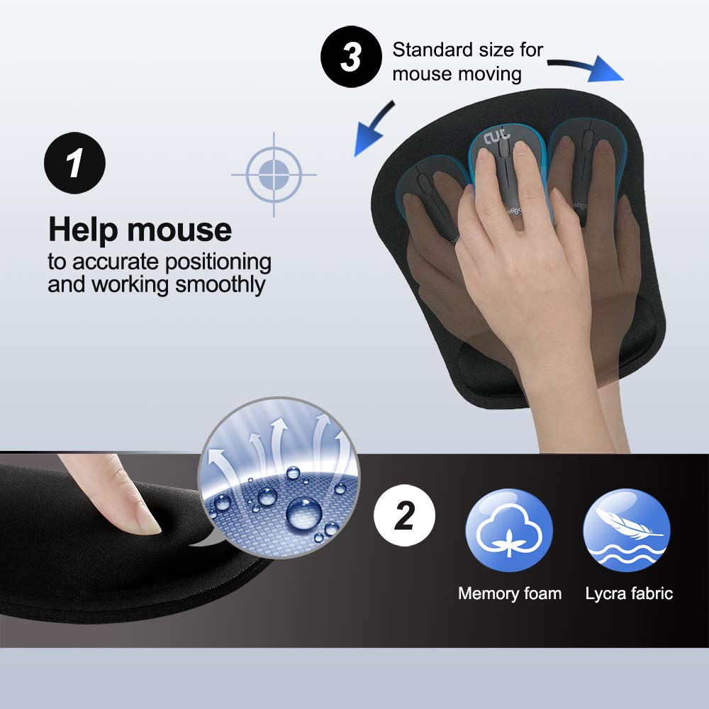 Ergonomic Memory Foam Set Mouse Wrist Rest Pad & Keyboard Wrist Support for Computer, Laptop, Mac(Office and Home Gaming)- Durable & Comfortable Wrist Cushion for Easy Typing & Pain Relief(Large)