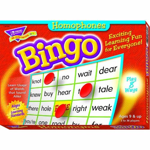 TREND ENTERPRISES INC. BINGO HOMONYMS AGES 9 & UP (Set of (T-6132 Bingo)