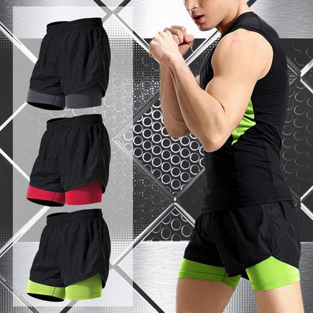 Mens Fitness Fake Two Pieces Bodybuilding Skin Tight-Drying Short Sports Pants