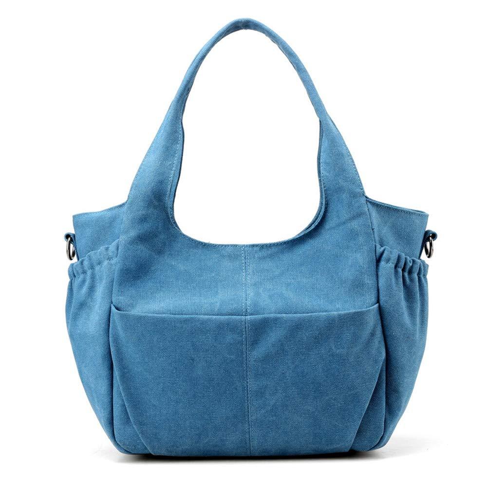 SJMMBB Women's Bag, Shoulder Bag, Canvas Bag, Retro Large Capacity Satchel Bag,Blue,30X29X12Cm