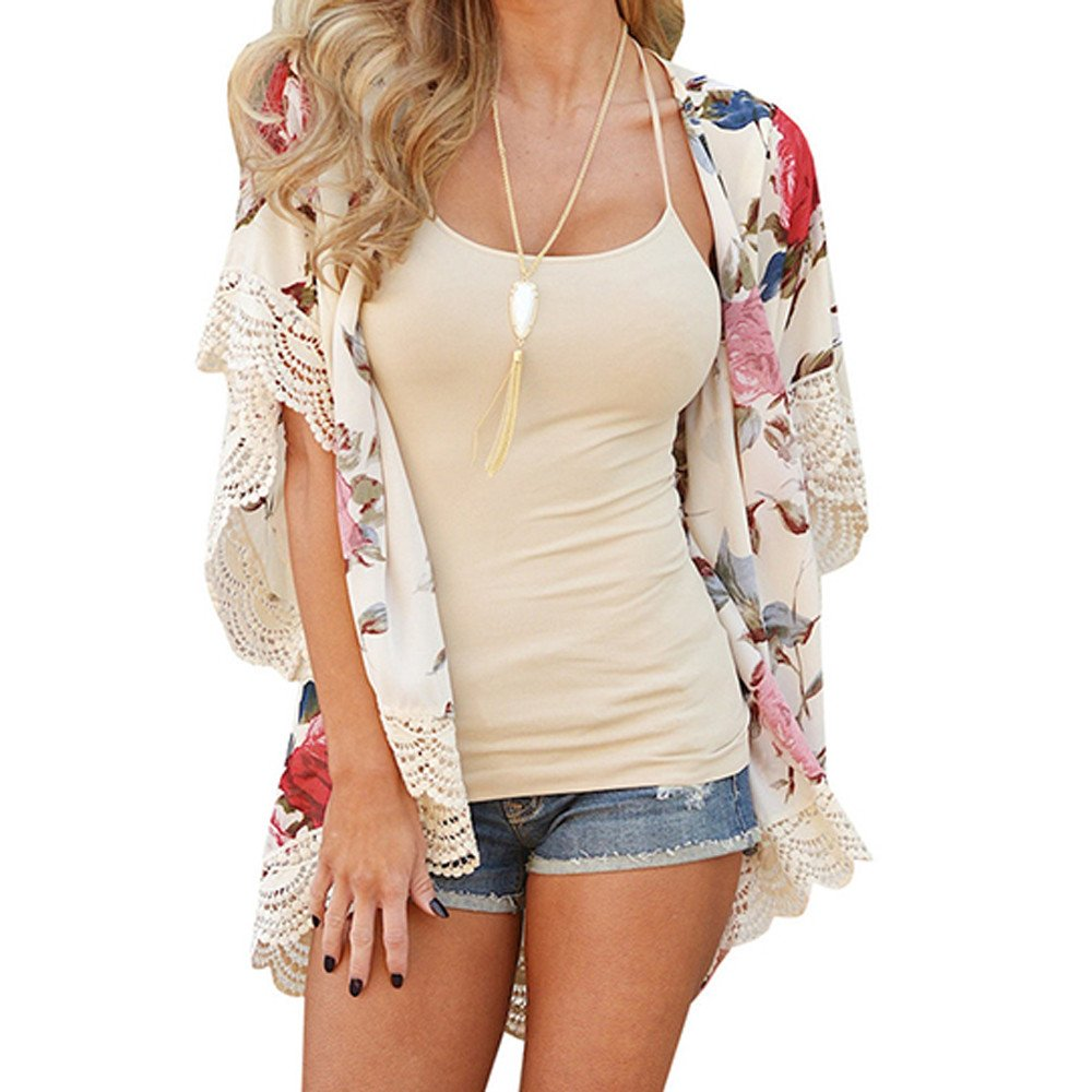 Women Chiffon Loose Shawl Print Kimono Cardigan Top Cover Up Blouse Beachwear Plus Size Shawl Blouses(Beige,XL)