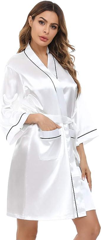 Akalnny Peignoir Satin Femme Robe De Chambre Longue Elegante Chemise De Nuit Kimono Sortie De Bain Mariage Amazon Fr Vetements Et Accessoires