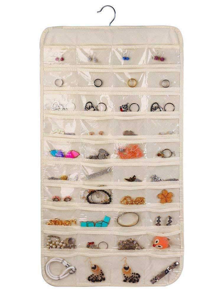 Hanging Jewelry Organizer - Necklace Holder Earring Jewellery Accessory Organizers Storage 80 Pockets Holding Jewelries Women (Beige)