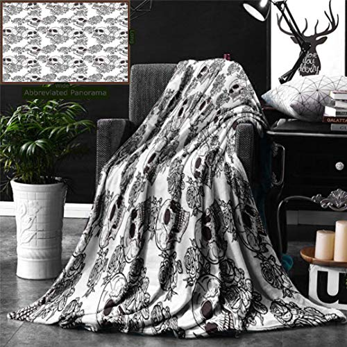 Unique Custom Double Sides Print Flannel Blankets Skull Decorations Blooms Retro Otherworld Textured Western Celtic Halloween Horror Ima Super Soft Blanketry for Bed Couch, Twin Size 70 x 60 -