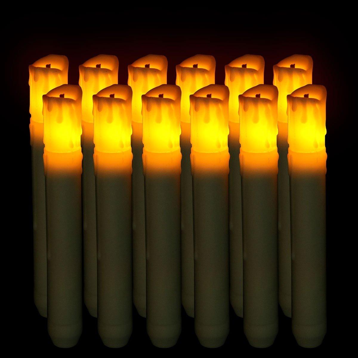 Driplessテーパキャンドル6pcs LEDバッテリ電源黄色ちらつき(電池含まず)ホテル、家庭装飾、教会、寺院、クリスマス、ハロウィン、 ホワイト CDL5029-L_xld B077D25RM8 12098  12pcs Yellow Flicker Fiber Head