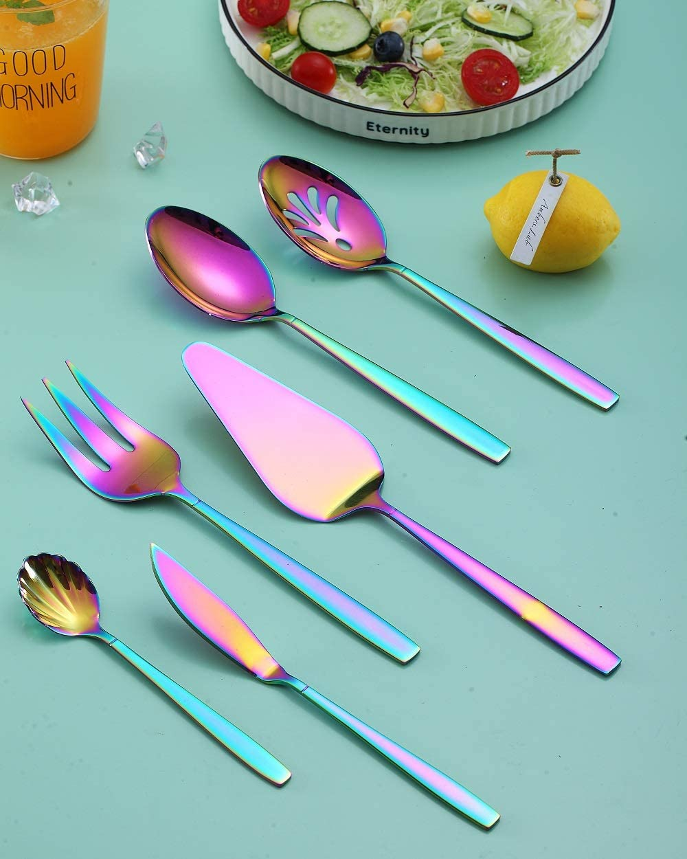 Titanium Plating Rainbow Cutlery Set HOMQUEN  Brand Rainbow Flatware Set 20 Pieces Stainless Steel Colorful Silverware Set Shiny Rainbow Rainbow Utensil Sets Service Set for 4